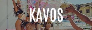 kavos party holidays banner button water splashed on girls