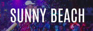 sunny beach party holidays banner button dj playing